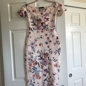 Off the shoulder Missguided midi dress like new!